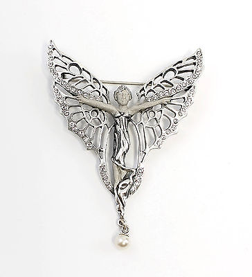 925 Silver Art Nouveau Brooch Butterfly wife with Swarovski Stones 9901567