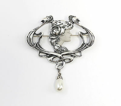 925 Silver Art Nouveau Brooch Beauty / Woman with synth. Bead 9901568