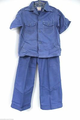 "Vtg Sears Boyville Boys Work Pants & Shirt 1950s Blue Button Fly Cotton 30"" CHST"