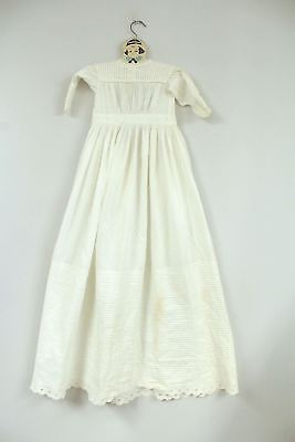 "Extra Long Antique Christening Gown 40"" White Work Pin Tucks Peg Hanger 16"" Ches"