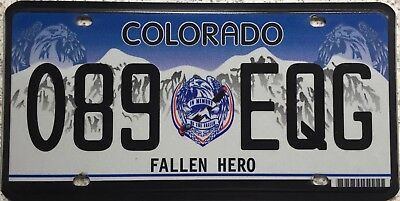 GENUINE Colorado Fallen Hero American License Licence Number Plate 089 EQG