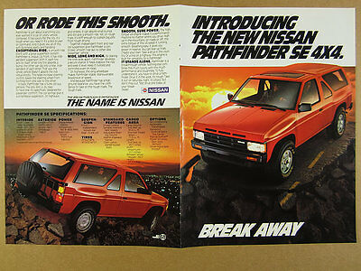 1986 Nissan Pathfinder SE 4x4 'Introducing' red suv truck photo vintage print Ad