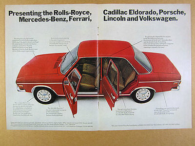 1971 Audi 100 Sedan red car photo vintage print Ad