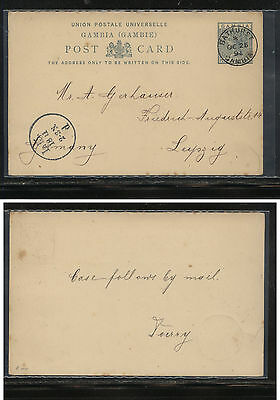 Gambia  nice cancel postal  card  1894 to Germany        KL0619
