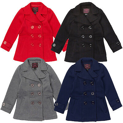Girls Winter Pea Coat, Dress Coat, Red, Navy Blue,Gray, Black, Sz: 6,8,10,11