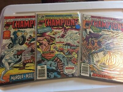 The Champions lot of 3 #'s 4 6 14 Marvel Comic Book
