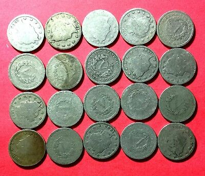 """1800s-1900s US LIBERTY """"V"""" Nickels Collection of 20 Assorted Coins!"""