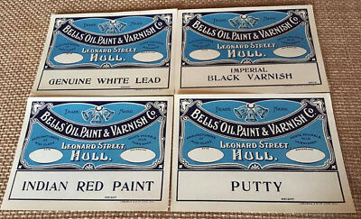 Bells' Oil Paint Varnish Co Leonard St Hull England Labels, NOS, Mint Condition