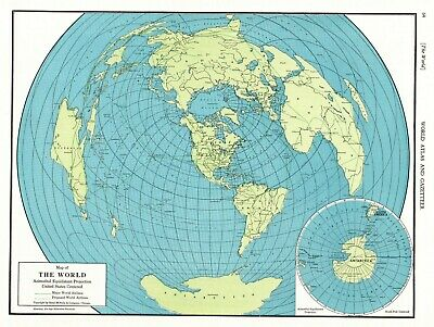 1949 Antique WORLD Map Vintage Map of the WORLD Gallery Wall Art  4064