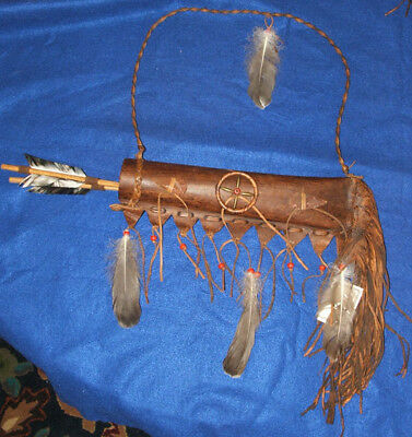 Lil Hawk Leather Quiver w/ Two Arrows Native American Navajo #NL29