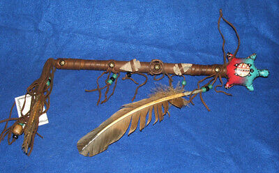 """Turtle Rawhide Rattle Authentic Native American 15"""" L Navajo Artifact #26"""