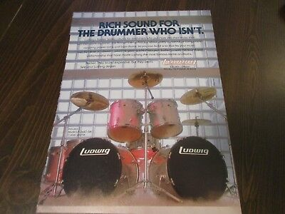 Ludwig Drums - Rocker Series - Silver Sparkle 1980's Magazine Print Ad