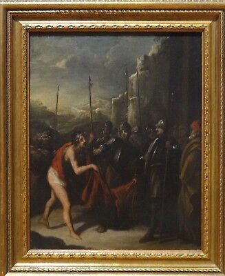 17th Century Italian School Old Master Mocking Of Christ Soldiers Oil Painting