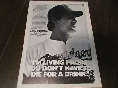 Bob Welch LA Los Angeles Dodgers Dont Drink and Drive 1980's Magazine Print Ad