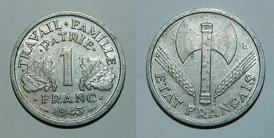 France : 1 Franc 1943 - Ww2 Coin In Nice Grade