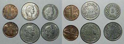 SWITZERLAND : LOT OF 6 OLD COINS  19th-20th Century