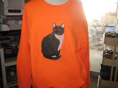 New Black And White Cat Embroidered Sweatshirt Purrfect For Halloween