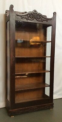 ca1880's Victorian Carved Oak Bookcase Display Cabinet