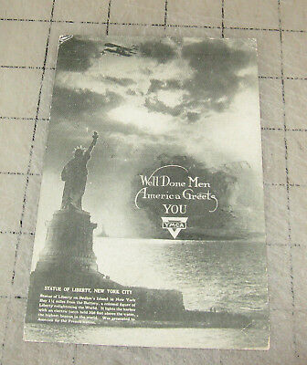 """1919 """"WELL DONE MEN, America Greets You"""" Post WWI Postcard Statue of Liberty"""