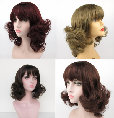 1950S 60S Womens Long Curly Flip Up End Bottom Wig Peggy Sue Costume Vintage