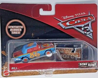 Disney Pixar Cars 3 Bill demo derby synthetic rubber tires thunder hollow