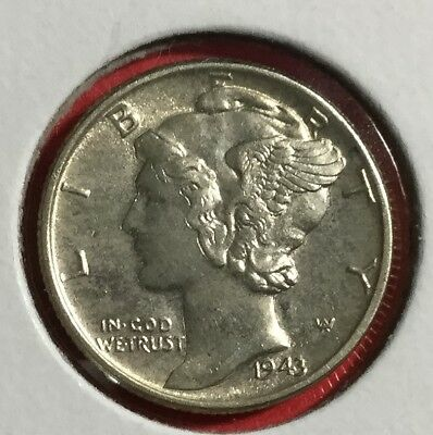 1943 Chocie AU Mercury SILVER Dime! Old US Coins!