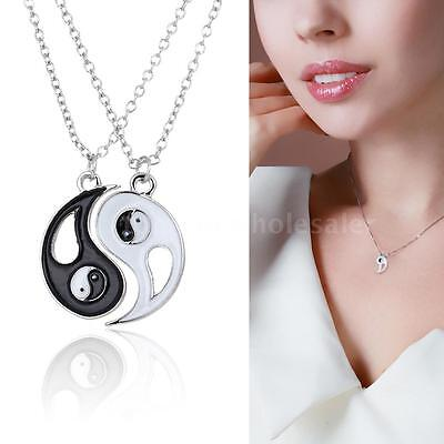 Ying and Yang Yin BEST FRIENDS 2 Pendant Necklaces BFF Friends Lover Gift Retro