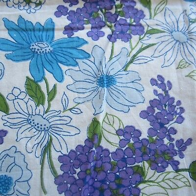 53Cm X 79Cm Vintage Cotton Sheet Fabric 1960S Retro Blue Purple Floral