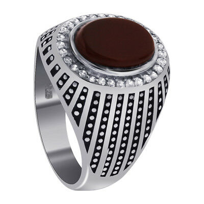 Sterling Silver Carnelian and CZ with Oxidized Stripes Men's Ring Size 9 #GR128