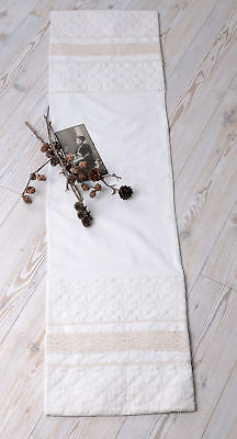 Vintage Tablecloth Shabby Chic Table Runner Lace Linen Table Runner