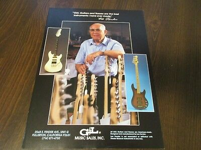 G&L Guitars and Basses - Leo Fender 1988 Magazine Print Ad
