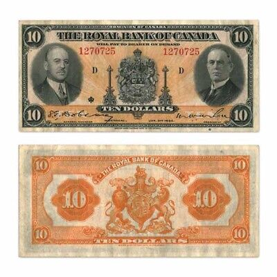 The Royal Bank of Canada $10 $10 1935 M.W. Wilson/H. Hoyt Pick S1392 Very Fine