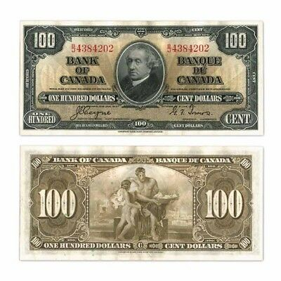 Bank of Canada $100 $100 1937 Coyne/Towers Pick 64c About Unc