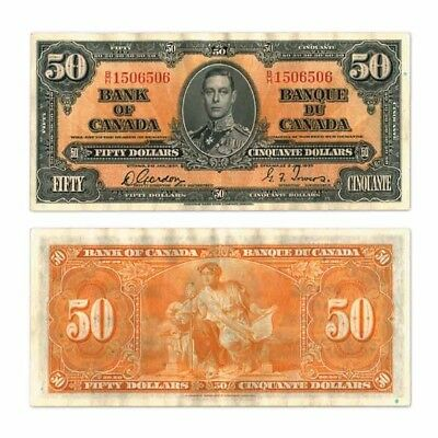 Bank of Canada Fifty Dollars $50 1937  Gordon/Towers Pick 63b Extra Fine