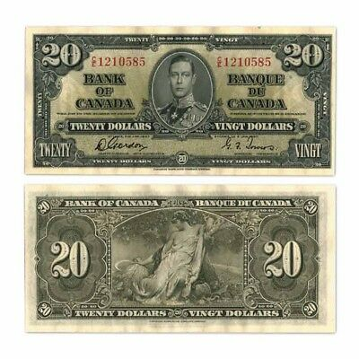 Bank of Canada Tewenty Dollars $20 1937 Gordon/Towers Pick 62b About Unc