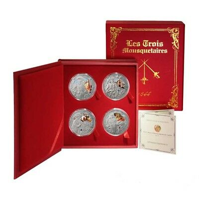 Belarus Three Musketeers 4 Coin Set 20 Roubles 2009 BU Silver Crowns Box & COA