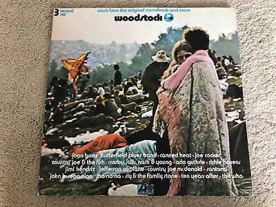 WOODSTOCK - Original Soundtrack - Rare UK 1st Press LP 2402-001 - EX/VG+