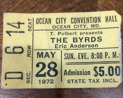 The Byrds Eric Anderson Ticket Stub May 28 1972 Ocean City Convention Hall MD