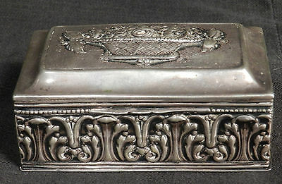 Antique Baroque 800 Silver Trinket Box Pill Snuff Repousse Ornate Rococo Solid