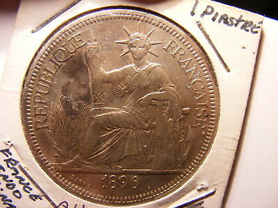 French Indo-China Silver 1 Piastre, 1896-A, VF