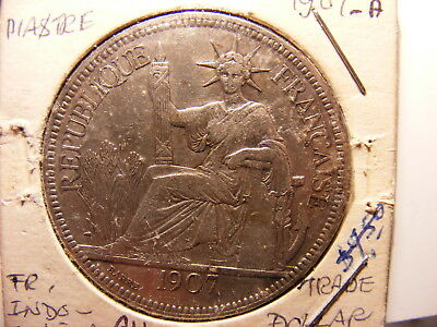 French Indo-China Silver 1 Piastre, 1907-A, VF with tone spots