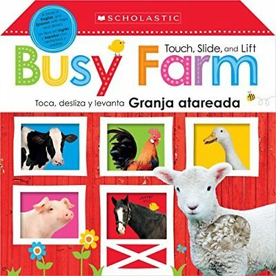 Touch, Slide, and Lift Busy Farm / Toca, Desliza y Leva - Hardcover NEW Scholast