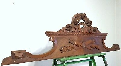 HAND CARVED WOOD PEDIMENT ANTIQUE FRENCH BOW FLOWER ARCHITECTURAL SALVAGE 19 th