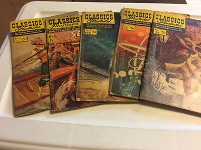 CLASSICS ILLUSTRATED Comic Book Lot Of 5 #s 5 85 105 133 153 Moby Dick Sea Wolf+
