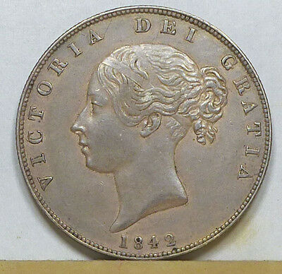 Great Britain Half Crown 1842 Choice Almost Uncirculated