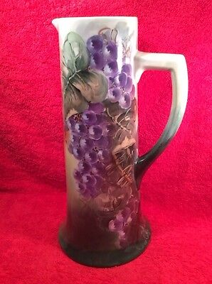 Antique Hand Painted Limoges Grapes & Leaves Tankard, L292  GIFT QUALITY!!