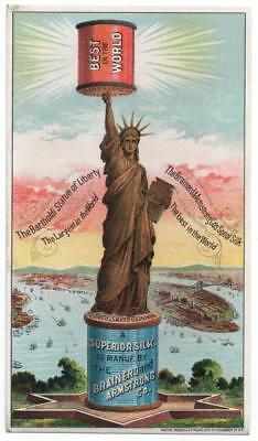 Brainerd & Armstrong Thread  Sewing trade card  Statue of Liberty  Patriotic  NY