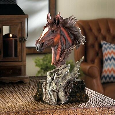 Beautiful Driftwood Style Stallion Horse Bust Sculpture Collectible Figurine NEW