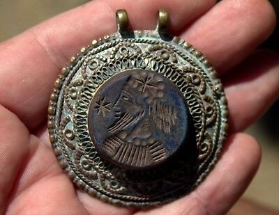 Large Very Old Ornate Bronze Pendant With Carved Lapis Intaglio Of Ceasar #2