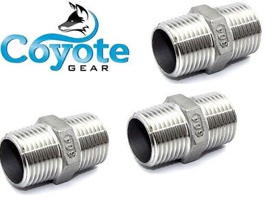 "Ships Free: 3 Pack Lot 1/4"" NPT Stainless Hex Pipe Nipple Fitting Coyote Gear"